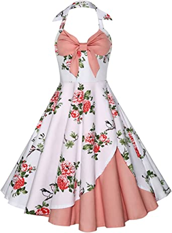 Yacun Women Summer Dress 1950s Vintage Floral Party Cocktail Swing Rockabilly Dress