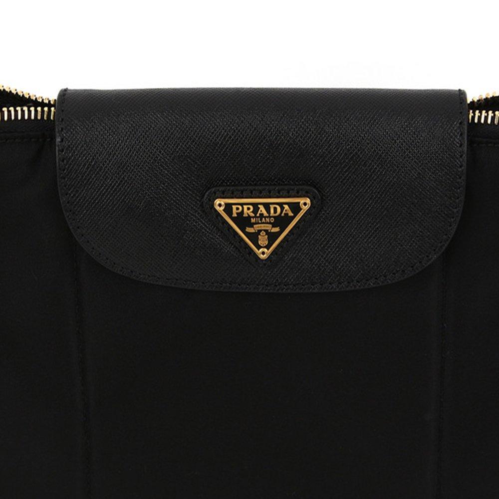 16294a034588 Amazon.com: Prada BT0933 Nero Black Tessuto Saffian Nylon and Leather  Crossbody Messenger Bag: Shoes