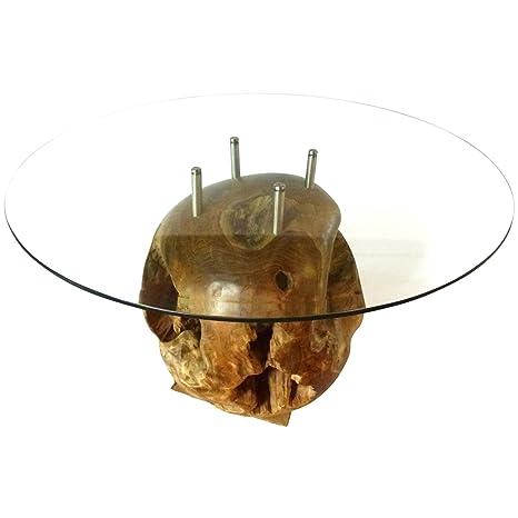 Amazon Com Teak Wood Root Ball Coffee Table With 35 Glass