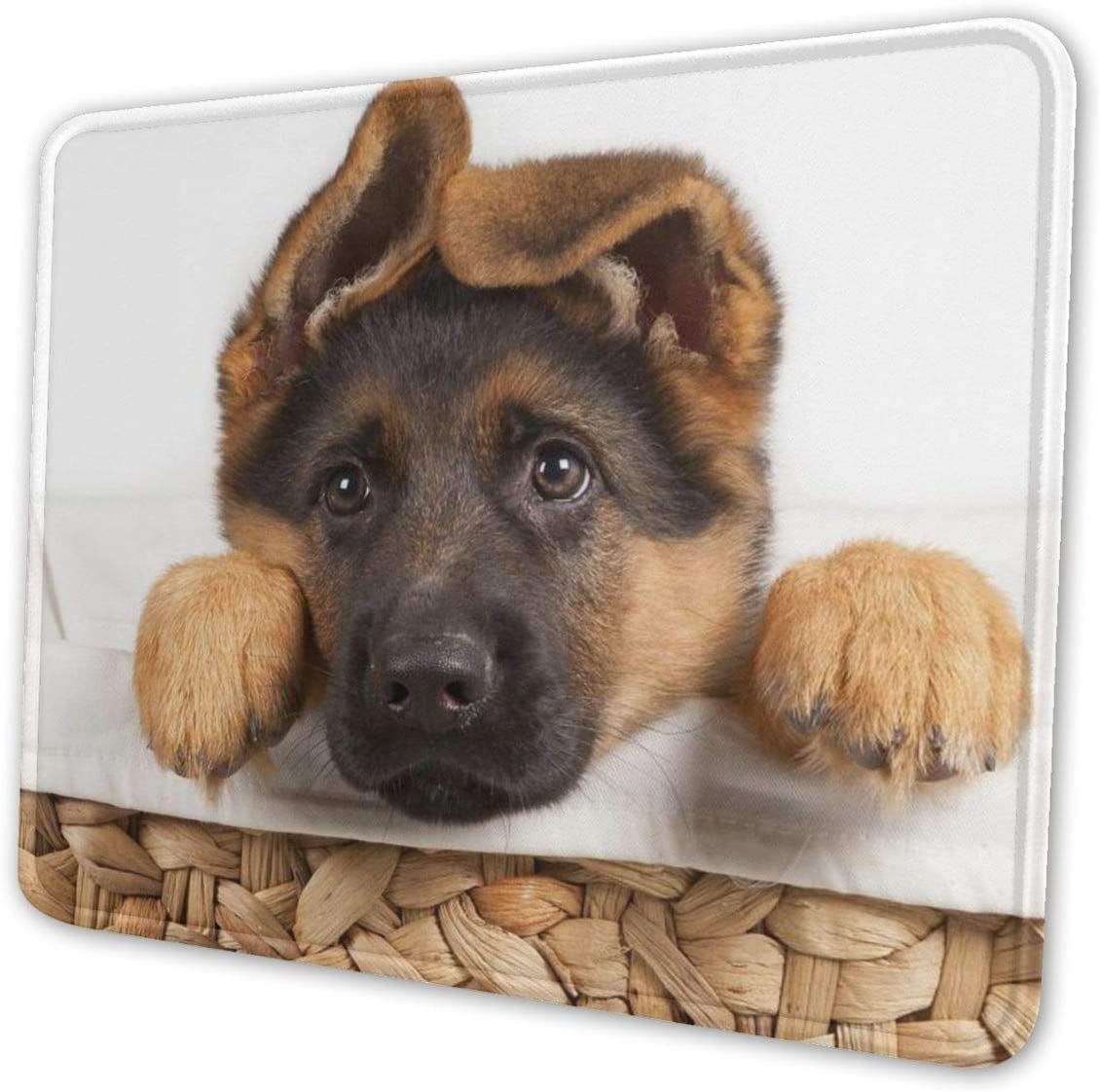 Lovely Dog German Shepherd Mouse Pad with Stitched Edge, Premium-Textured Mouse Mat, Non-Slip Rubber Base Mousepad for Laptop, Computer & PC, 10.3x8.3x0.03 inch