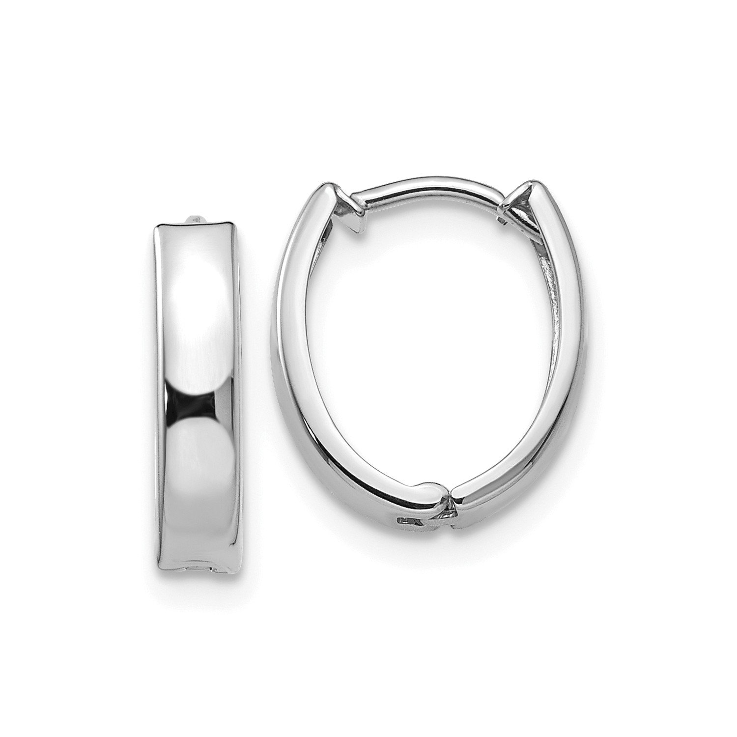 Roy Rose Jewelry 14K White Gold Polished Hinged Hoop Earrings ~ 10mm width