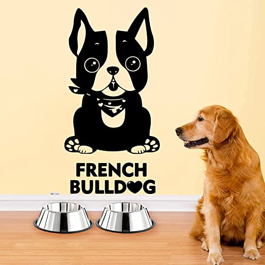 Geiqianjiumai Dibujos Animados Bulldog francés Corazón Etiqueta de ...