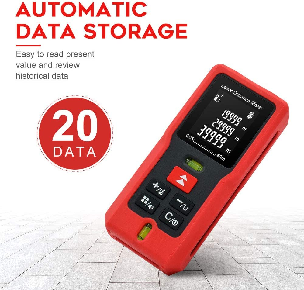 M40 Laser distance meter 131 Feet Mute Laser Distance Meter With 2 Bubbles Levels Pythagorean Mode Measure Distance Area and Volume Carrying Case and Battery Included 40M