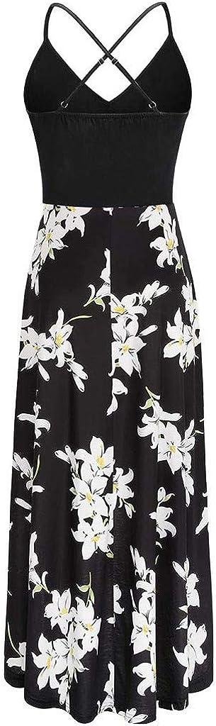Flower Print V Neck Sleeveless Bohemian Maxi Dress Changeshopping Irregular Dresses for Women Casual Summer Long Maxi