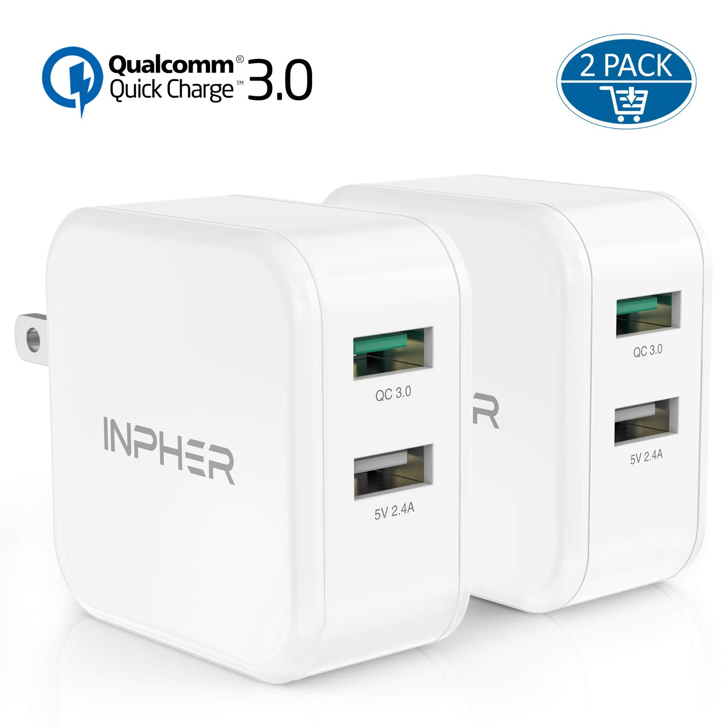 2 Quick Charge USB Wall Charger iPad iPhone 2.4A Dual Ports Power Adapter with SmartID Foldable Plug for Samsung Galaxy Inpher 30W Fast Charger 3.0 Google Pixel,Tablet and More