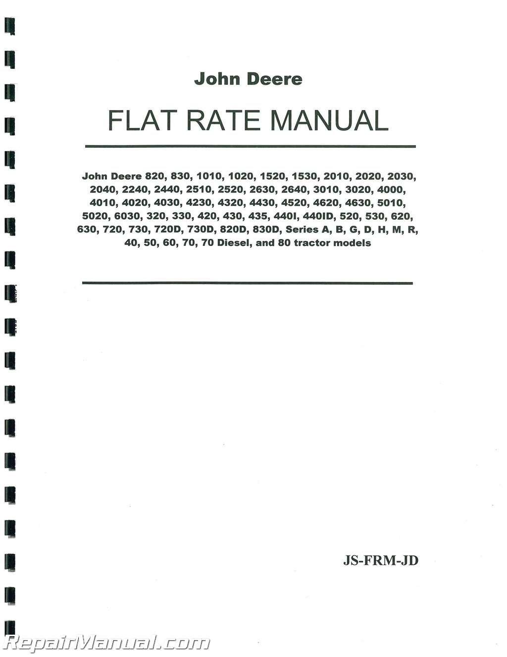 JS-FRM-JD John Deere Tractor Flat Rate Manual: Amazon.com: Books on