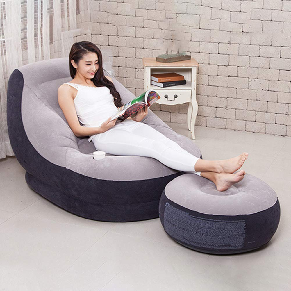 Softmusic Foldable Inflatable Air Sofa Chair Valve Design Anti-Leaking Lazy Couch Home Office Decor Grey by Softmusic (Image #2)