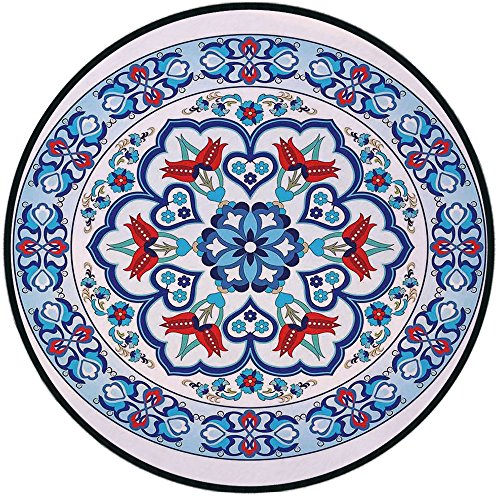- Printing Round Rug,Antique Decor,Ottoman Turkish Style Art with Tulip Period Ceramic Floral Art Elements European Touch Print Mat Non-Slip Soft Entrance Mat Door Floor Rug Area Rug For Chair Living Ro