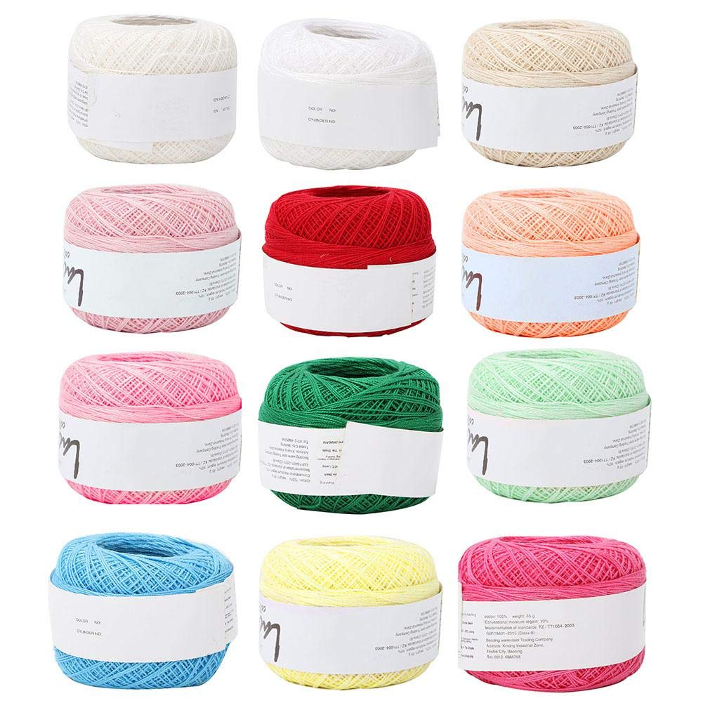 Crochet Yarn Colourful Glitter Cotton Crochet Thread Popular Lace Line Cotton Hand Crocheted Summer Silk Light Thin Line with a Crochet for Hand Embroidery(12 Colors a Set)