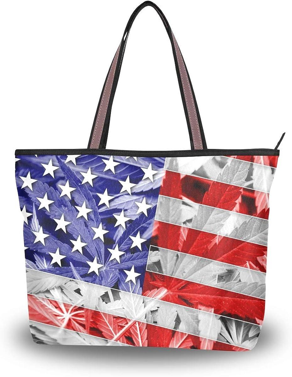 Emoya - Bolso bandolera para mujer, diseño de la bandera de los Estados Unidos en cannabis y marihuana
