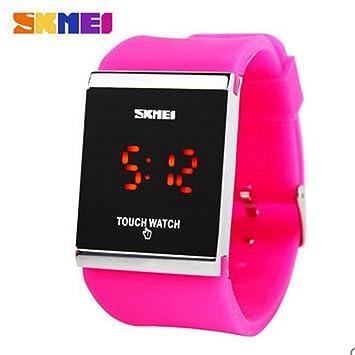 Watches Reloj Digital LED Touch Trendy Colorful, Reloj para Hombre, Reloj para Mujer, Deporte Informal, Reloj Rectangular con Esfera De Goma,Plumred: ...