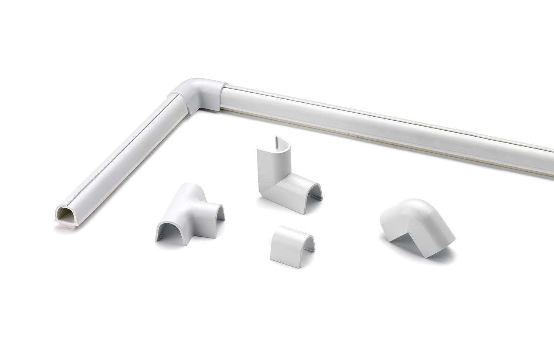 Cablefix Inofix selbstklebender flexibler Kabelkanal & Verbindungen (3 Stü ck 10,5 x 10 x 1000 mm, Grau metallic)
