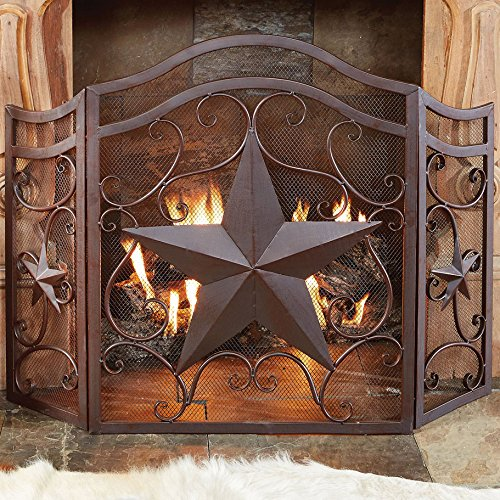 Black Forest Decor Lone Star & Scroll Fireplace Screen by Black Forest Decor