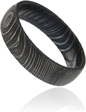 Thorsten Circular Damascus Steel Design Print Pattern Ring Flat Black Tungsten Ring 8mm Wide Wedding Band from Roy Rose Jewelry