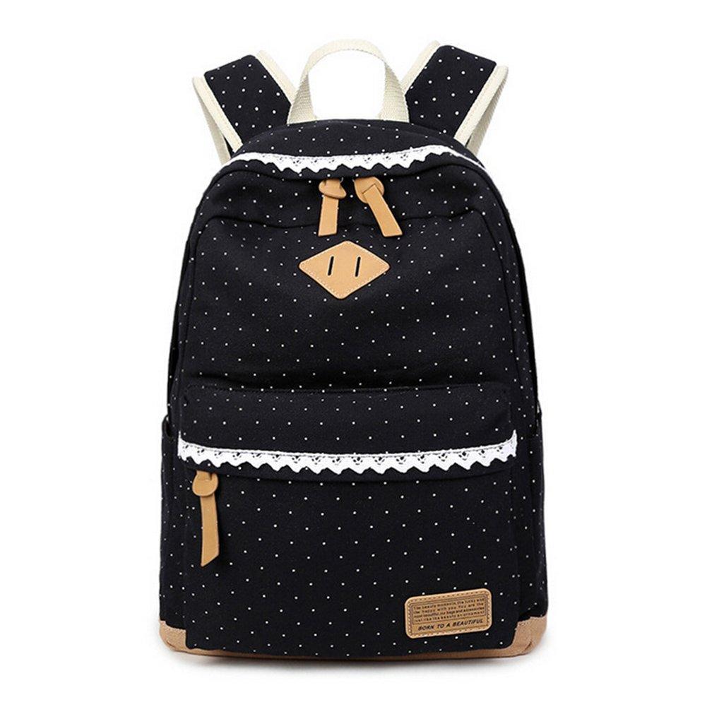 Mochila de la escuela de las muchachas de la manera, mochila ligera de la lona de las señoras, mochila de los viajes de los adolescentes, mochilas al aire libre del ocio con el cordón elegante (negro)