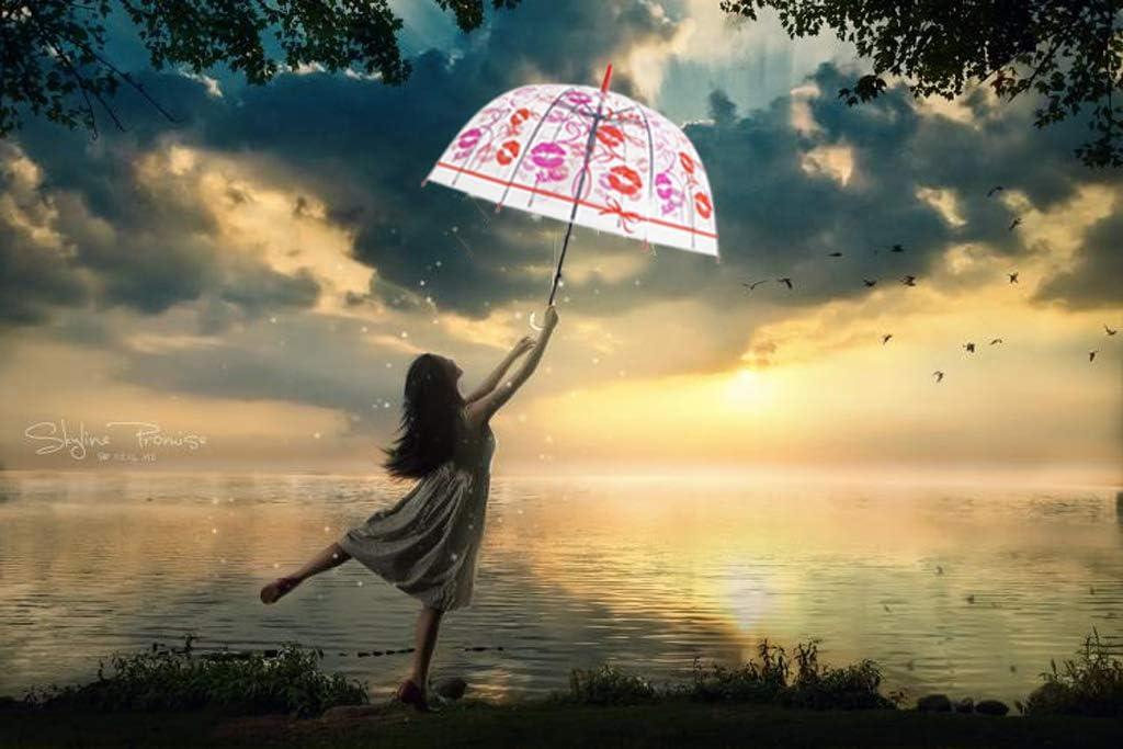 Parapluie d/ôme /à Bulles Transparent pour Les Filles et Les gar/çons Empreinte de l/èvre parapluies de Pluie Coupe-Vent automatiques Parapluie Transparent,Stick Parapluie d/ôme Transparent