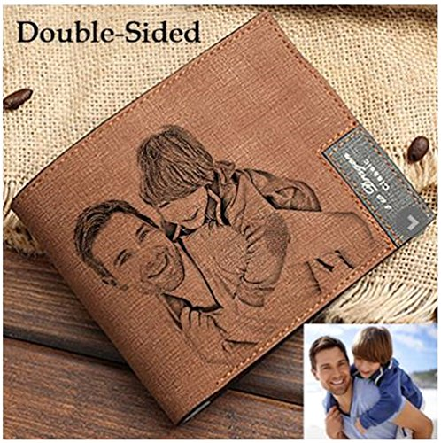 Fashion men's custom photo wallet perfect personalized Father's Day gift(Light Brown Double Side)