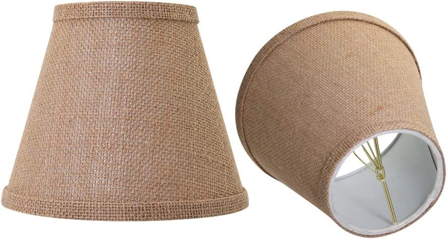 Double Mesh Small Lamp Shade Clip On Bulb Set of 2 for Candelabra Bulbs, Alucset Barrel Fabric Lampshade for Table Chandelier Wall Lamp 4x7x6 Inch, 2Pcs Pack (Brown)