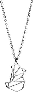 La Menagerie Fox Silver Origami Jewelry - Silver Geometric Chain Necklace – 925 Sterling Plated Silver Necklace for Women & Girls – Stylish Fox Pendant Necklace