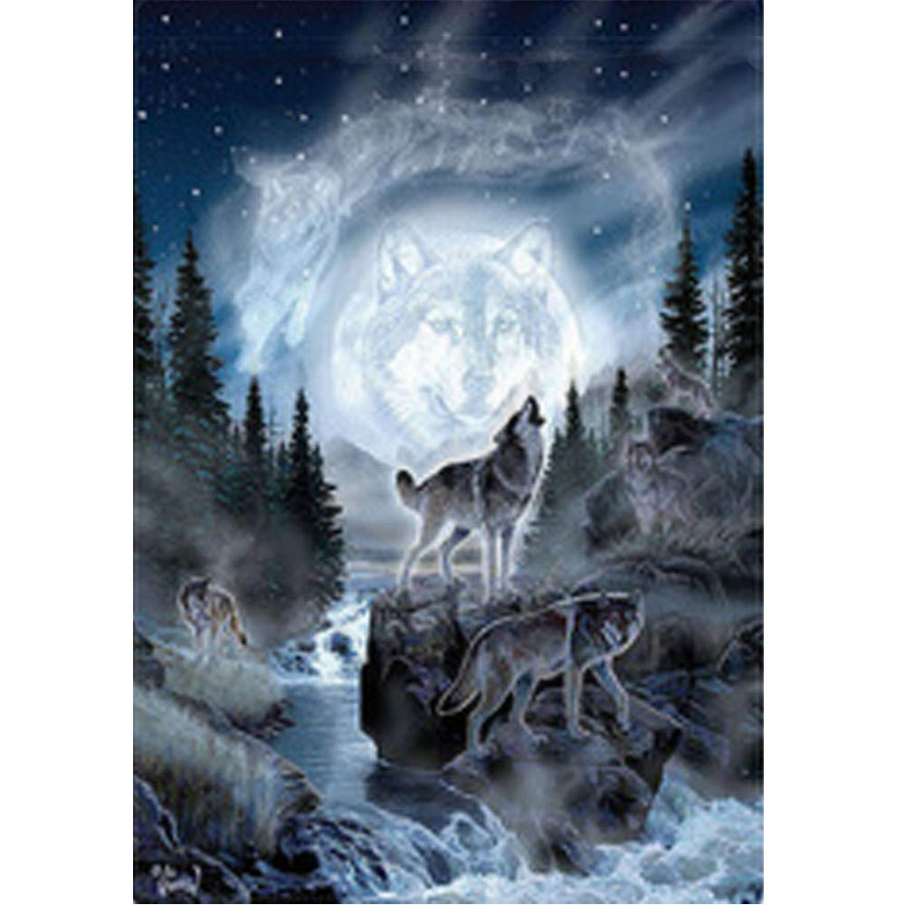 Onefa 5D Diamond Painting,Tiger Animals Drill 5D Embroidery Paintings Rhinestone Pasted DIY Diamond Painting Cross Stitch,Wolf Horse Owl Butterfly Landscape,Clearance