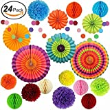 Premium Tissue Paper Pom Pom and Rainbow Party Supplies for Birthdays, Party Decorations, Festivals, Carnivals, Graduation, Weddings Bridal Baby Showers Summer Fiesta (Set of 24) by Happy Sky
