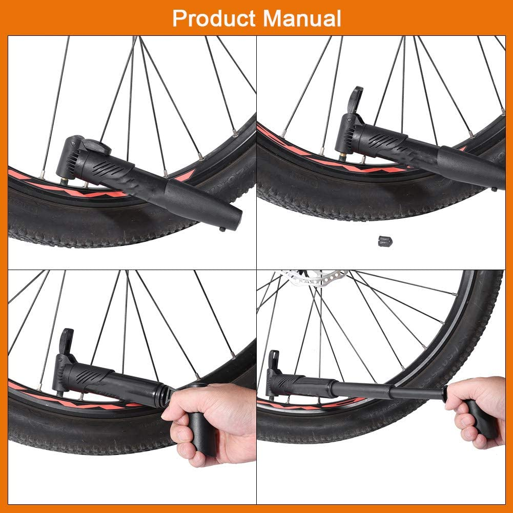 GOTOTOP Bicycle Air Pump Portable Plastic Compact Bike Air Inflator with Frame Mounting Kit Road Bicycle Tire Pump for Road Mountain and Bikes