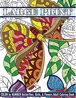 large print color by number butterflies birds and flowers adult coloring book beautiful - Color By Number Books