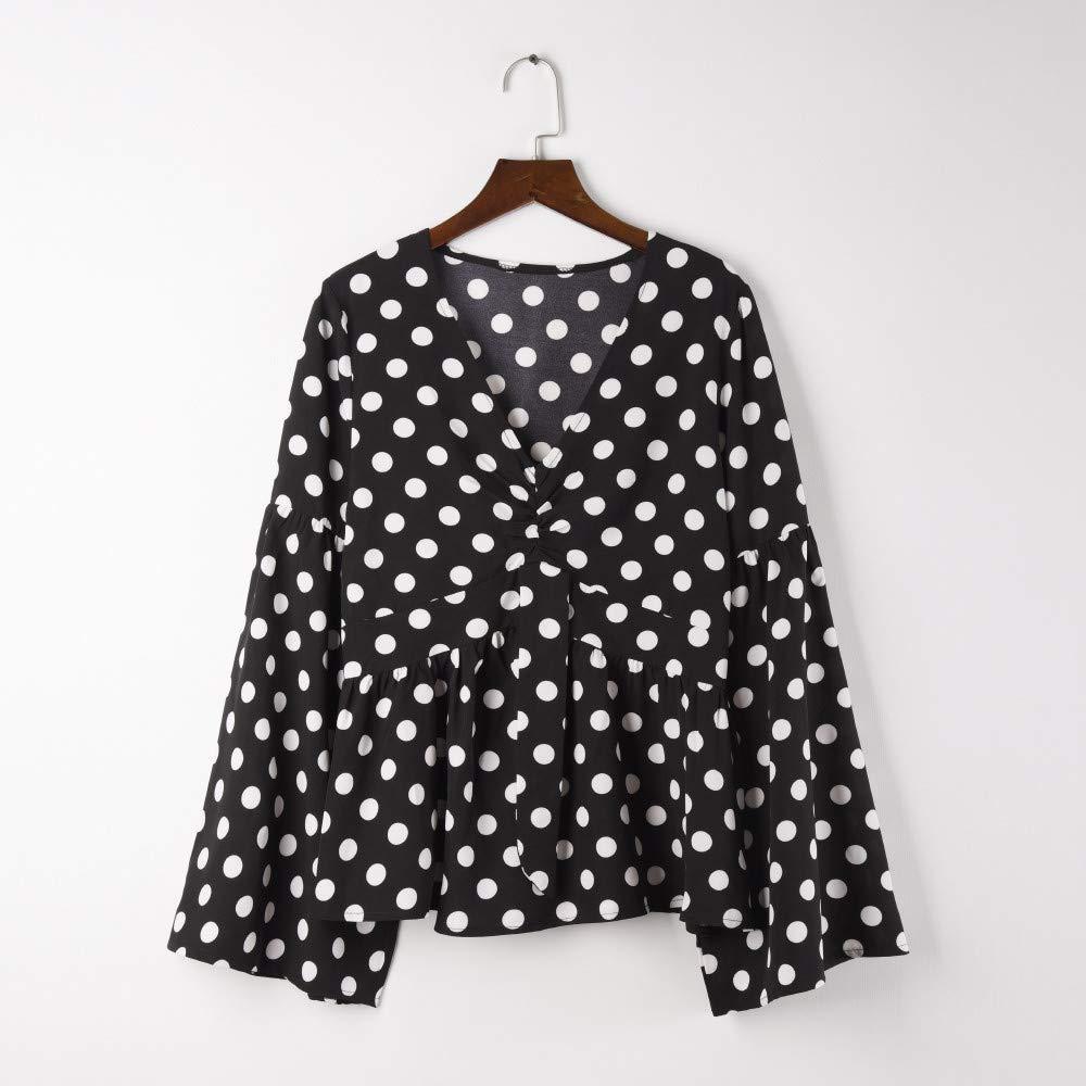 3c2d94e608e4c7 Amazon.com  TOPUNDER Fashion Polka Dots Tops for Women V-Neck Pagoda Sleeve  Shirt Point Blouse  Clothing