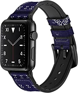 CA0670 Navy Blue Bandana Pattern Leather & Silicone Smart Watch Band Strap for Apple Watch iWatch Size 38mm/40mm