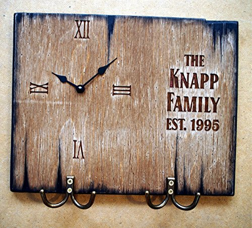 Personalized Coat rack, Key Hooks, Dog Leash Holder, Wall Clock | Handmade distressed wood artifact | Rustic wall decor - wall art