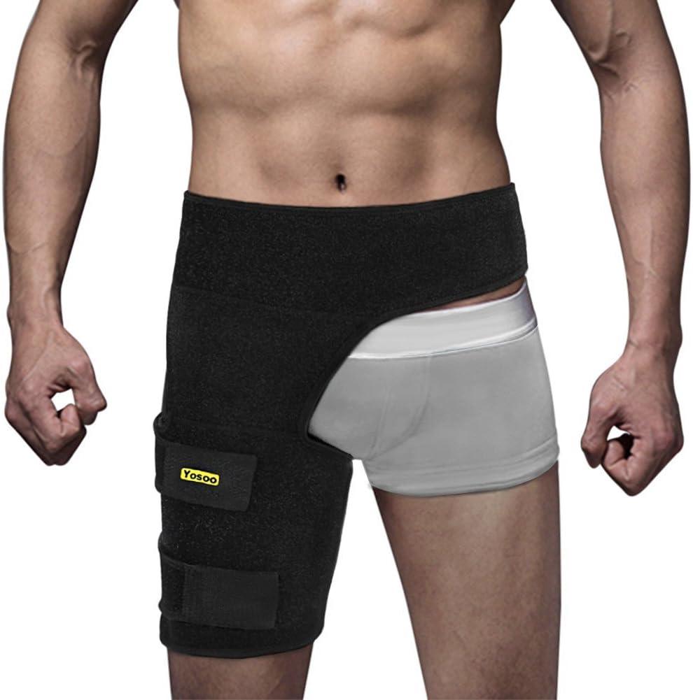 yosoo Soporte para la cadera del muslo, vendaje ajustable de neopreno negro Envoltura de compresión de la cadera del muslo Soporte para la ingle del muslo Cuádriceps Protección para el muslo