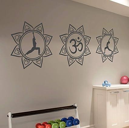 Amazon.com: Mesllings Three Yoga Mandala Art Circle Wall Art ...