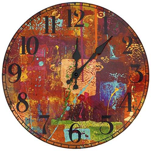 ORIENTAL FURNITURE CAN-CLK-GITA13 India by Gita Wall Clock - Orange unique wall clocks