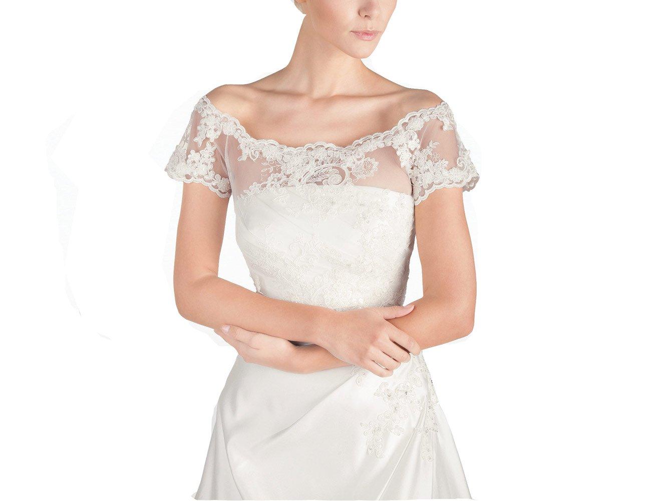 GEORGE BRIDE Lace Appliques Short Sleeves Wedding Jacket Bolero Bridal Coats(M, Ivory)