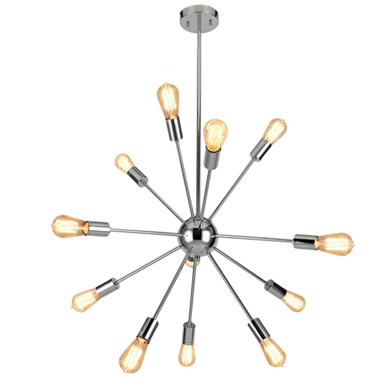 Modern Sputnik Chandelier Lighting 12 Lights Pendant Lighting Retro Ceiling Light Fixture Chrome Finished ALHAKIN