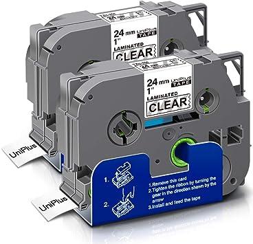 Image of UniPlus Compatible Casetes de Cinta Laminada Compatible con Brother Tze-151 Tze 151 Cinta de Etiquetas para Brother P-Touch PT D600VP E550WVP PT-P700, 24mm x 8m, Negro sobre Transparente, 2-Pack