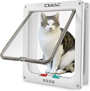 "CEESC Pet Door for Cats & Doggie (Outer Size 11"" x 9.8""), 4 Way Locking Extra Large Cat Door for Interior Exterior Doors, Weatherproof Cat Flap Door for Pet with Circumference < 24.8"""