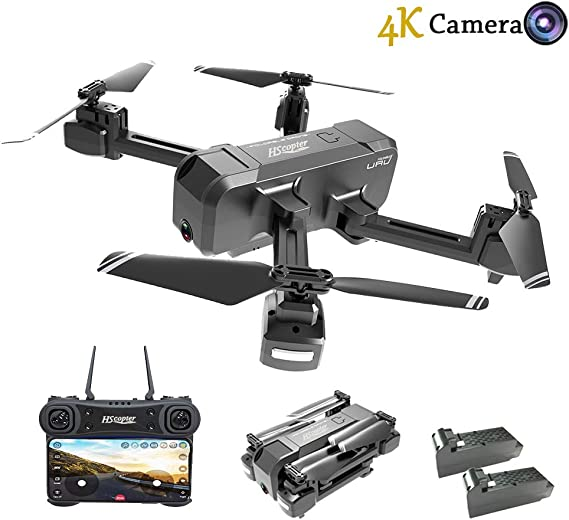 HScopter Foldable Drone with WiFi FPV Live Video 4K Camera and 720P Optical Flow Positioning Camera