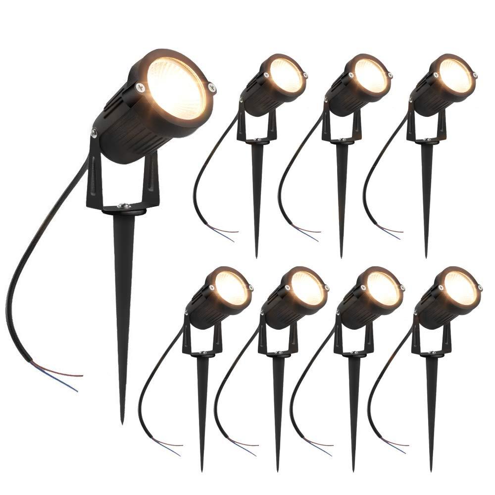 inShareplus 5W LED Landscape Lighting, Warm White 3000K-3500K 600Lumens, Waterproof IP65 DC 12V 24V Low Voltage Outdoor Spotlights for Patio Garden Pathway, 8 Pack