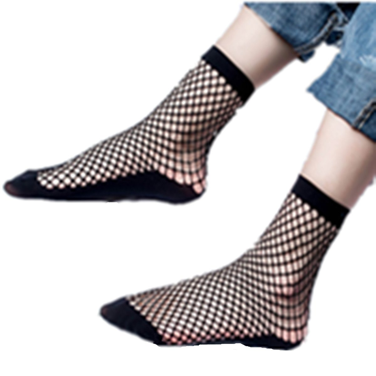 Clearance! 2 Pairs Women's Sexy Fishnet Mesh hollow Sheer Short Ankle Socks (Black)
