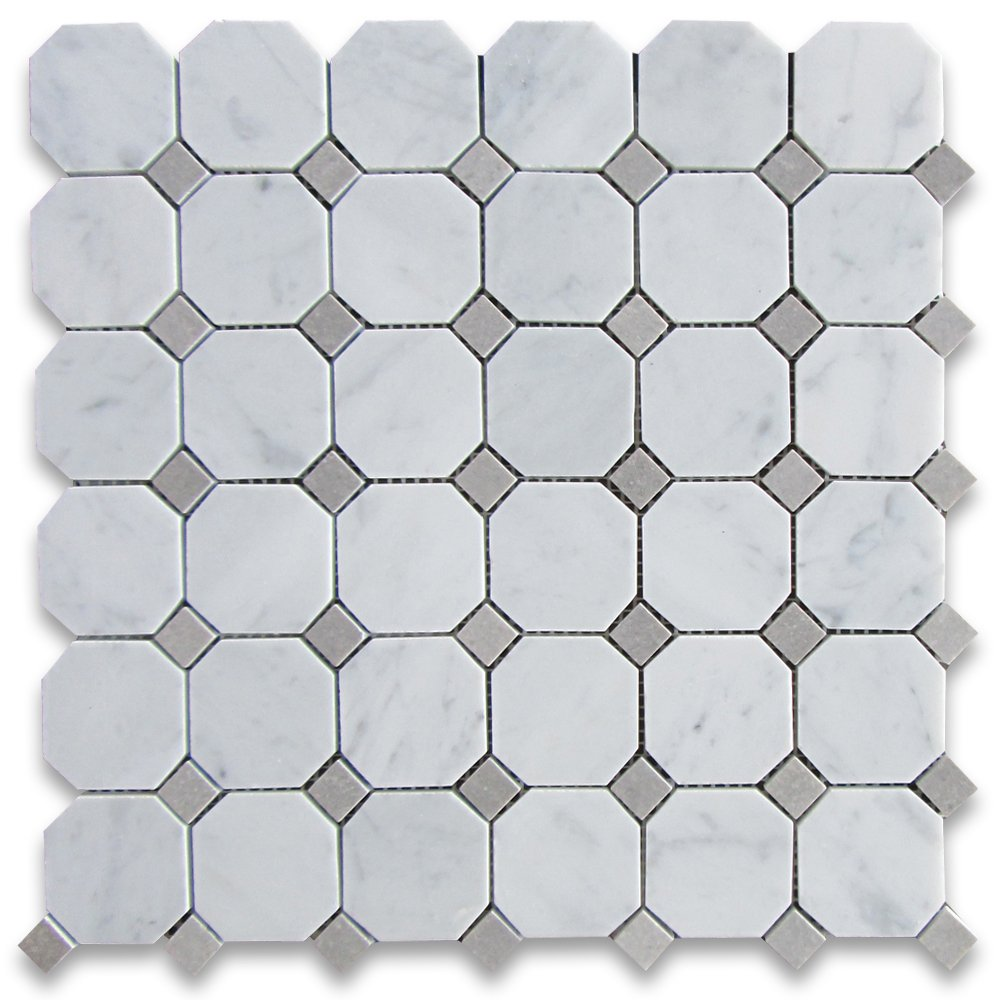 Carrara white italian carrera marble octagon mosaic tile gray dots carrara white italian carrera marble octagon mosaic tile gray dots 2 inch honed amazon dailygadgetfo Gallery