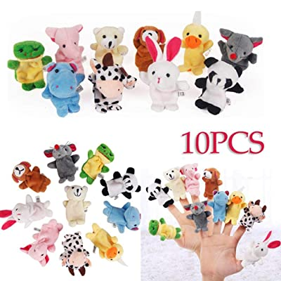 dozenla 10pcs/Set Cute Animal Finger Puppet Plush Toys Finger Toy Plush Figures: Home & Kitchen