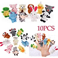 Kaimus 10pcs / set Cute Animal Finger Puppet