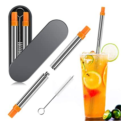 Reusable Collapsible Straws, KATUMO Stainless Steel Food-grade Foldable  Compact Portable Drinking Straw with Cleaning Brush Suit for Home Work  Travel