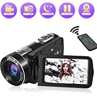 "Camcorder Video Camera Full HD 1080P 24MP Vlogging Camera 18X Digital Zoom Night Vision Pause Function with 3.0"" LCD and 270 Degree Rotation Screen Camcorder Camera with Remote Controller"