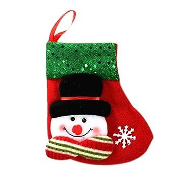 LeisialTM Botas de Calcetines de Navidad Colgante Calcetines de Navidad de Santa Claus Muñeco de Nieve Adornado Decoraciones de Fiesta Navidad: Amazon.es: ...