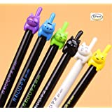 WishgiftCC Set Of 12 Crazy cat Black 0.5 mm Gel Pen, Cute Creative Stationery