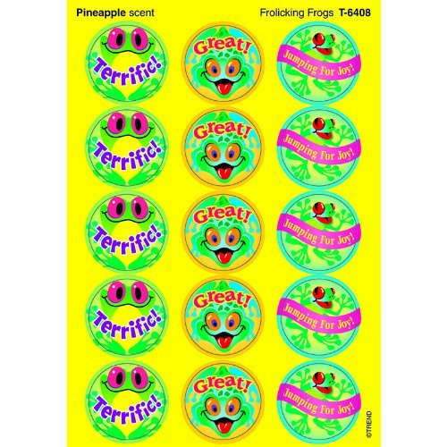 Frolicking Frogs (Pineapple) Stinky Stickers-Large Round by Trend Enterprises Inc
