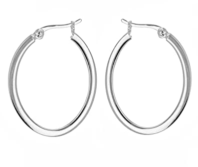 Tuscany Silver Sterling Silver Oval Creole Earrings wMIi1C