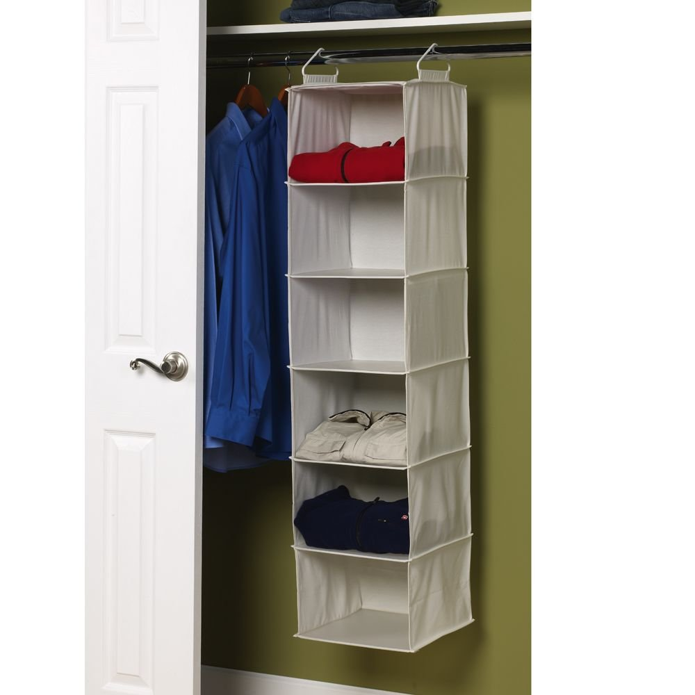 Amazon Com Household Essentials  Hanging Closet Organizer  Shelves Natural Canvas Home Kitchen